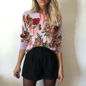 {Vintage} rose knit long sleeve top